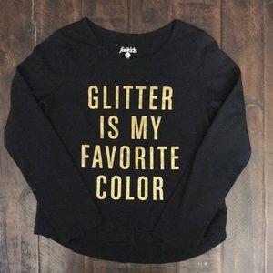 FABKIDS black gold sparkle long sleeve top EUC L